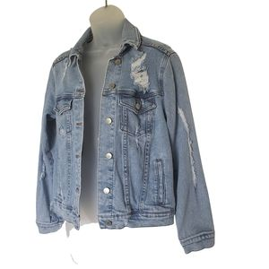 Wild Fable Distressed Denim Jacket Size XS
